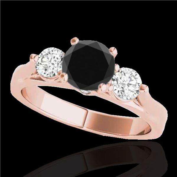 1.50 ctw Certified VS Black Diamond 3 Stone Solitaire Ring 10k Rose Gold - REF-69N3F