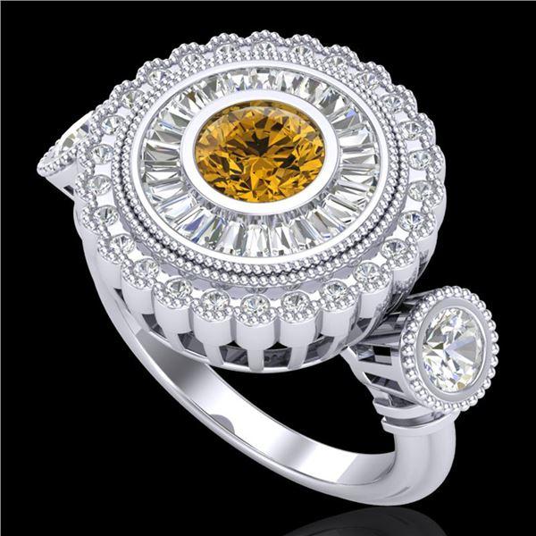 2.62 ctw Intense Fancy Yellow Diamond Art Deco Ring 18k White Gold - REF-290W9H