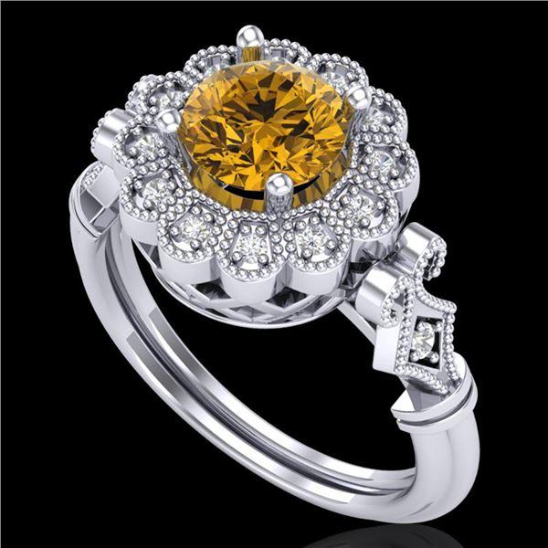 1.2 ctw Intense Fancy Yellow Diamond Art Deco Ring 18k White Gold - REF-290G9W