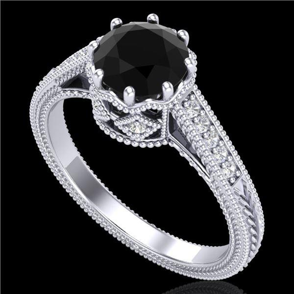 1.25 ctw Fancy Black Diamond Engagment Art Deco Ring 18k White Gold - REF-100A2N