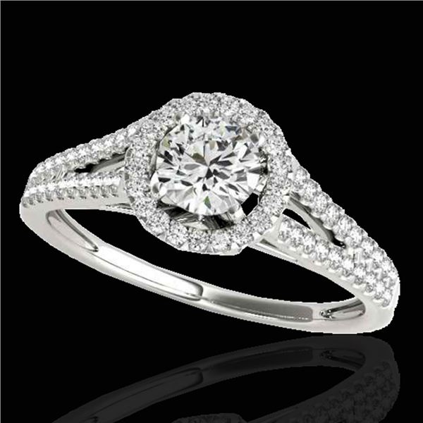 1.3 ctw Certified Diamond Solitaire Halo Ring 10k White Gold - REF-177W3H
