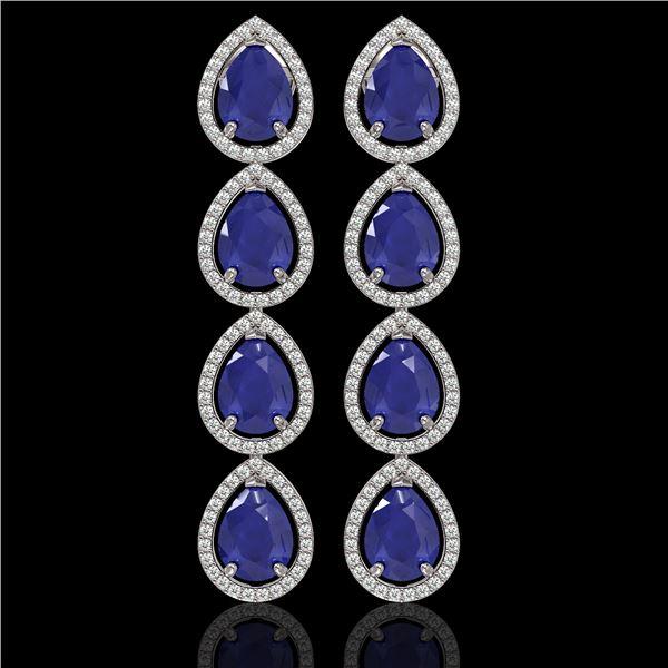 16.01 ctw Sapphire & Diamond Micro Pave Halo Earrings 10k White Gold - REF-180K2Y