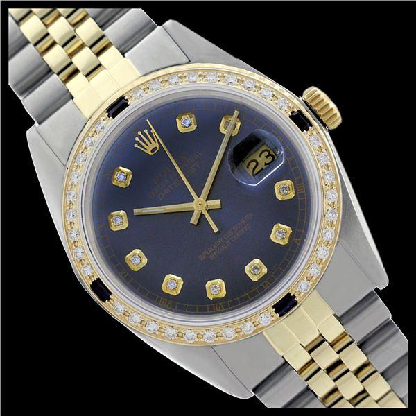Rolex Ladies Two Tone 14K Gold/SS, Diam Dial & Diam/Sapphire Bezel, Sapphire Crystal