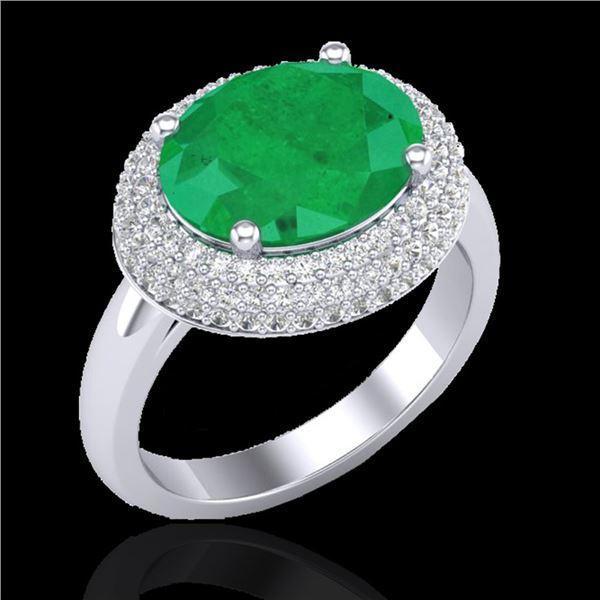 4.50 ctw Emerald & Micro Pave VS/SI Diamond Ring 18k White Gold - REF-119G6W