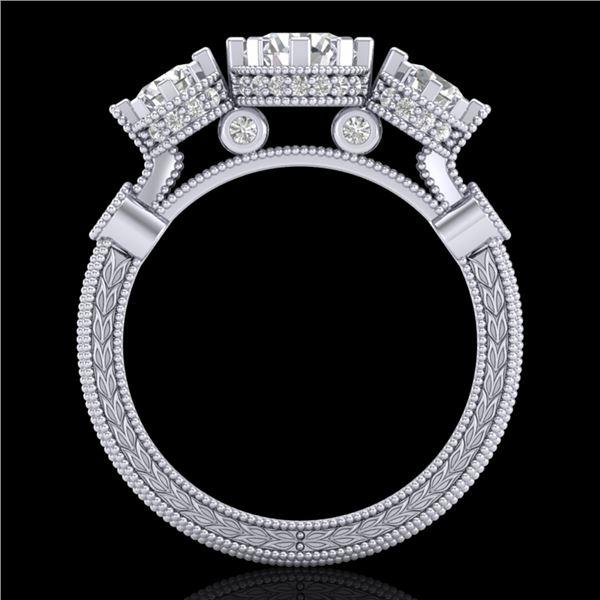 1.75 ctw VS/SI Diamond Solitaire Art Deco 3 Stone Ring 18k White Gold - REF-309X3A