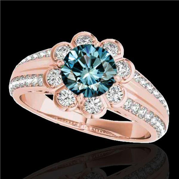 2.05 2.05 ctw SI Certified Fancy Blue Diamond Halo Ring 10k Rose Gold - REF-197R8K