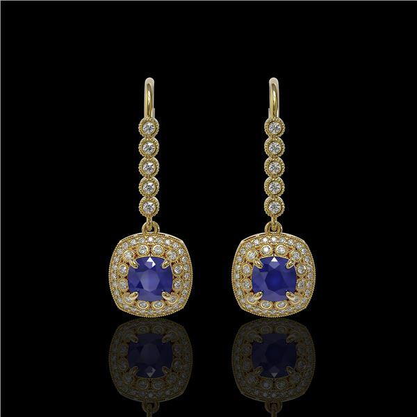 5.1 ctw Certified Sapphire & Diamond Victorian Earrings 14K Yellow Gold - REF-172R8K