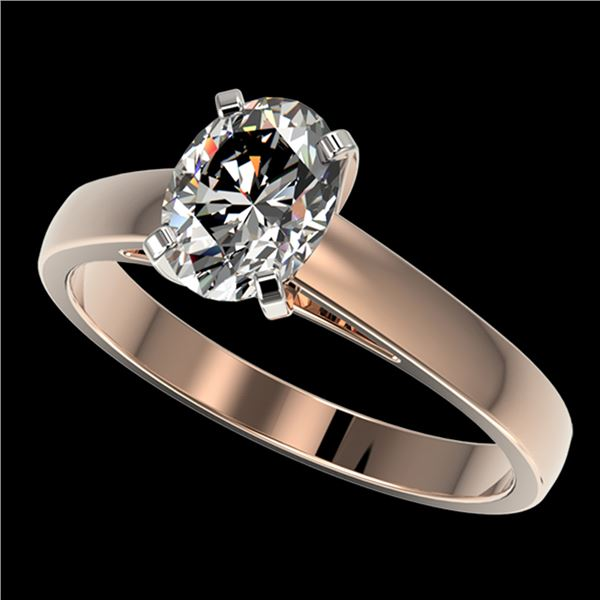 1.25 ctw Certified VS/SI Quality Oval Diamond Ring 10k Rose Gold - REF-304H6R
