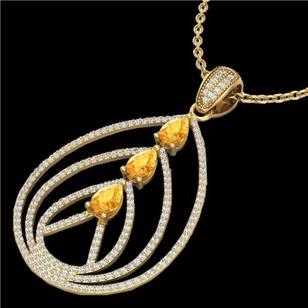 2 ctw Citrine & Micro Pave VS/SI Diamond Necklace 18k Yellow Gold - REF-163H6R