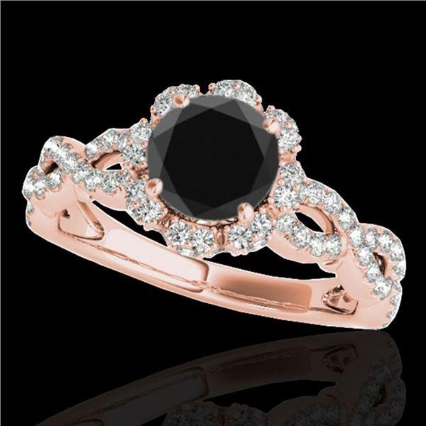 1.69 ctw Certified VS Black Diamond Solitaire Halo Ring 10k Rose Gold - REF-66N8F