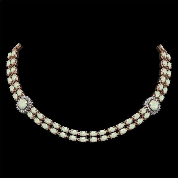 32.21 ctw Opal & Diamond Necklace 14K Rose Gold - REF-527H3R