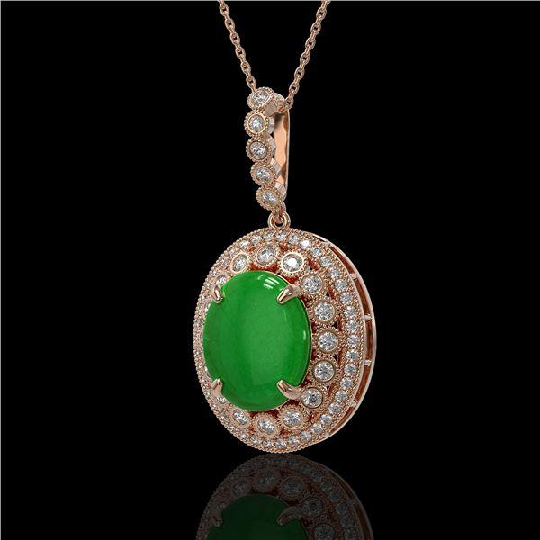 9.17 ctw Jade & Diamond Victorian Necklace 14K Rose Gold - REF-245A5N