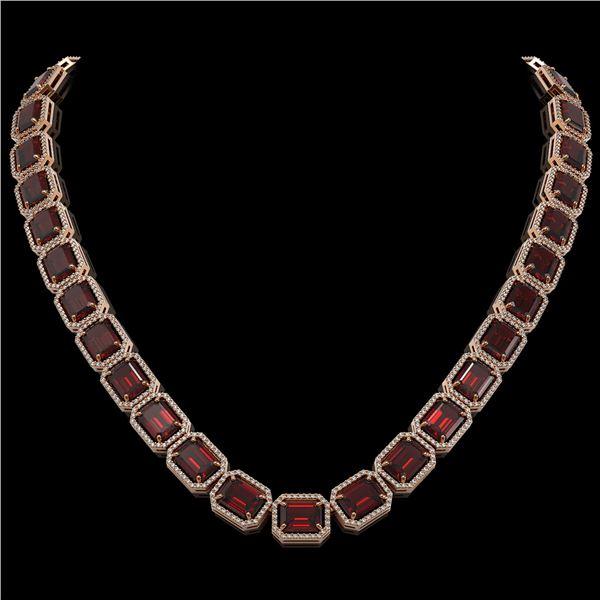73.44 ctw Garnet & Diamond Micro Pave Halo Necklace 10k Rose Gold - REF-696Y2X