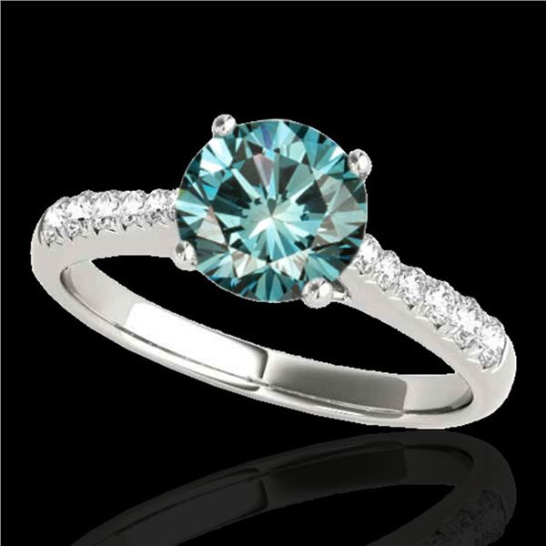 1.25 ctw SI Certified Fancy Blue Diamond Solitaire Ring 10k White Gold - REF-117H3R