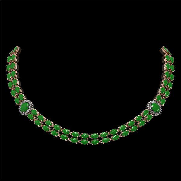 27.65 ctw Jade & Diamond Necklace 14K Rose Gold - REF-454N5F