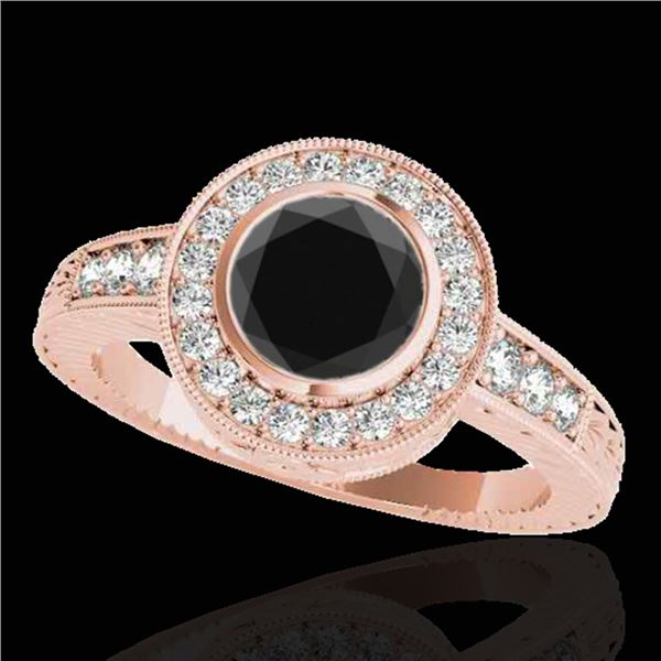 1.50 ctw Certified VS Black Diamond Solitaire Halo Ring 10k Rose Gold - REF-60A8N