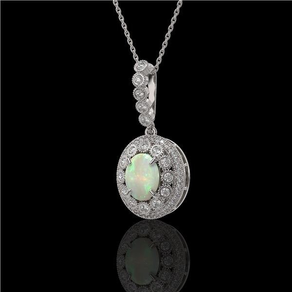 3.9 ctw Certified Opal & Diamond Victorian Necklace 14K White Gold - REF-139M8G