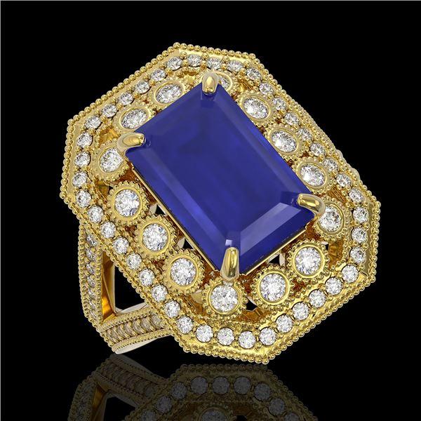 7.11 ctw Certified Sapphire & Diamond Victorian Ring 14K Yellow Gold - REF-171X5A