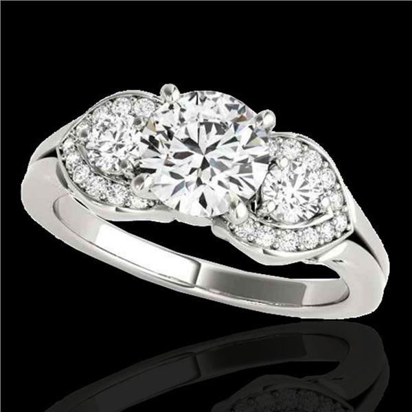 1.45 ctw Certified Diamond 3 Stone Ring 10k White Gold - REF-204X5A