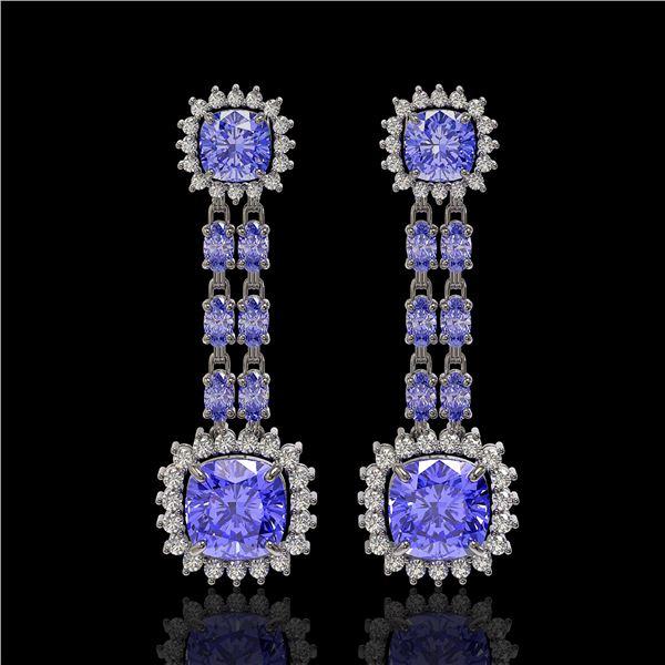 20.06 ctw Tanzanite & Diamond Earrings 14K White Gold - REF-469X6A