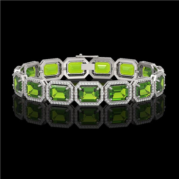 33.37 ctw Peridot & Diamond Micro Pave Halo Bracelet 10k White Gold - REF-405R5K