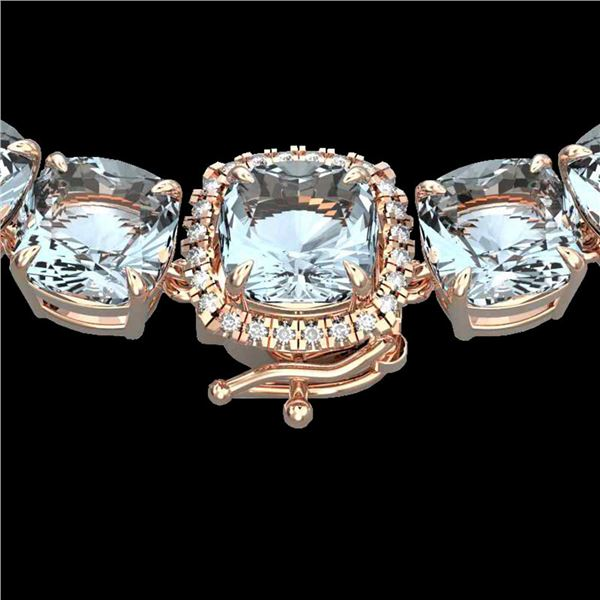 87 ctw Sky Blue Topaz & VS/SI Diamond Micro Necklace 14k Rose Gold - REF-286W2H
