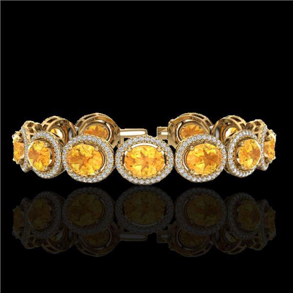 24 ctw Citrine & Micro Pave VS/SI Diamond Bracelet 10k Yellow Gold - REF-360K2Y