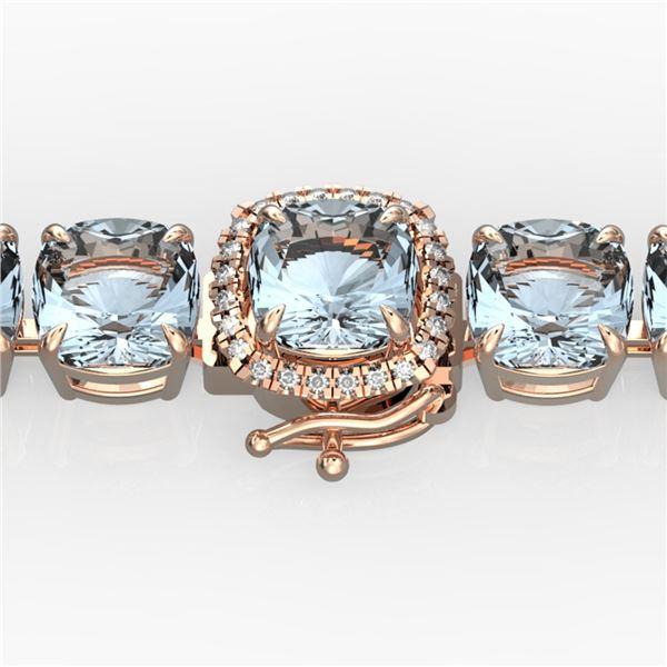 35 ctw Aquamarine & Micro Pave Diamond Bracelet 14k Rose Gold - REF-304M8G