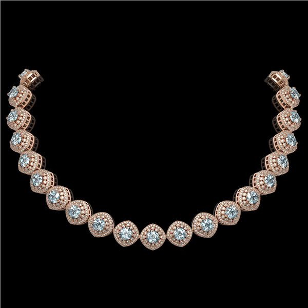 72.27 ctw Aquamarine & Diamond Victorian Necklace 14K Rose Gold - REF-1800X2A