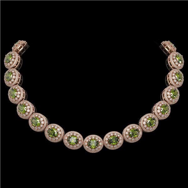 99.35 ctw Tourmaline & Diamond Victorian Necklace 14K Rose Gold - REF-2947R8K