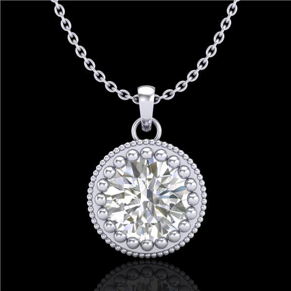1 ctw VS/SI Diamond Solitaire Art Deco Necklace 18k White Gold - REF-292A5N