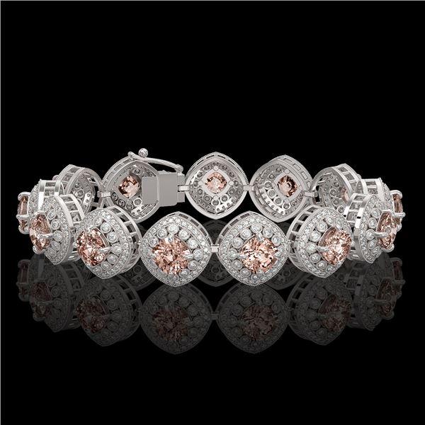 31.35 ctw Morganite & Diamond Victorian Bracelet 14K White Gold - REF-1063K3Y