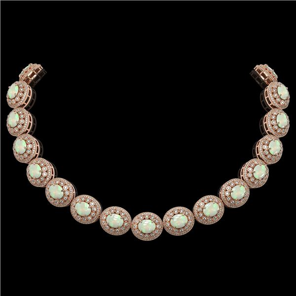 91.75 ctw Certified Opal & Diamond Victorian Necklace 14K Rose Gold - REF-3090W4H