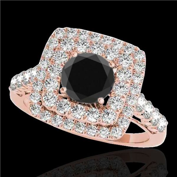 2.3 ctw Certified VS Black Diamond Solitaire Halo Ring 10k Rose Gold - REF-88M9G