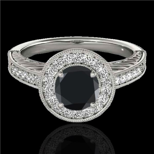 1.5 ctw Certified VS Black Diamond Solitaire Halo Ring 10k White Gold - REF-56A5N