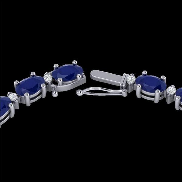 35 ctw Sapphire & VS/SI Diamond Certified Eternity Necklace 10k White Gold - REF-231N8F