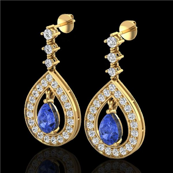 2.25 ctw Tanzanite & Micro Pave VS/SI Diamond Earrings 14k Yellow Gold - REF-109W3H