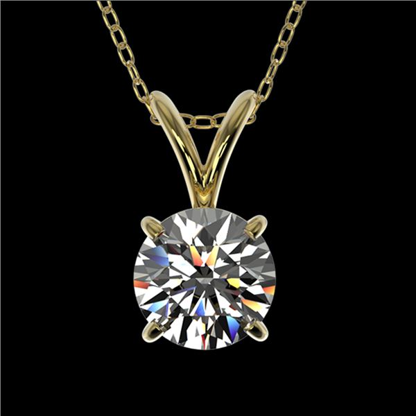 0.72 ctw Certified Quality Diamond Solitaire Necklace 10k Yellow Gold - REF-61A8N
