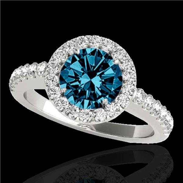 1.65 ctw SI Certified Fancy Blue Diamond Halo Ring 10k White Gold - REF-177M3G