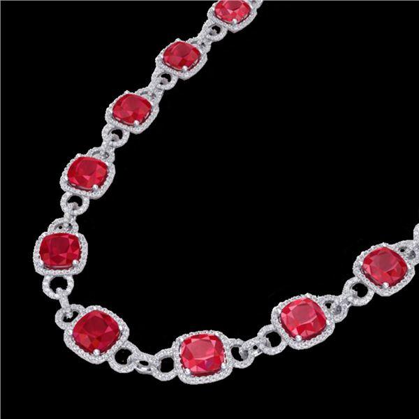 56 ctw Ruby & Micro VS/SI Diamond Eternity Necklace 14k White Gold - REF-1003R6K