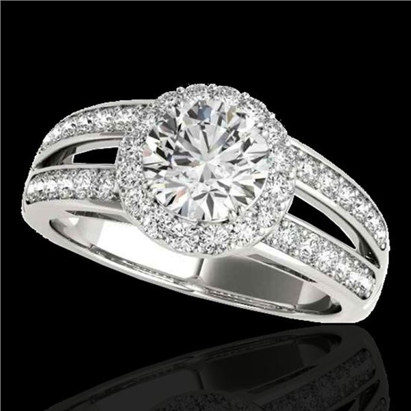 1.6 ctw Certified Diamond Solitaire Halo Ring 10k White Gold - REF-214G3W