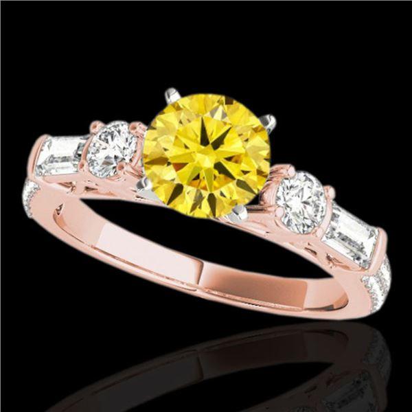 2.5 ctw SI/I Fancy Intense Yellow Diamond Pave Ring 10k Rose Gold - REF-381F8M