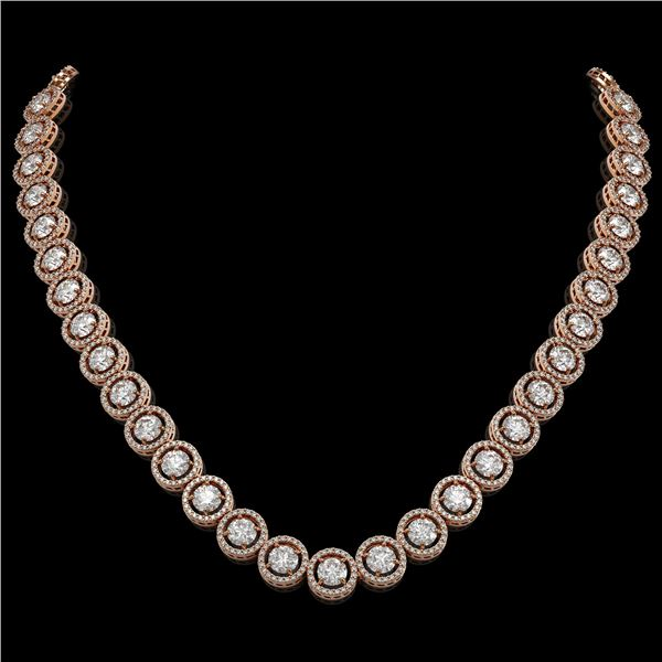 30.78 ctw Diamond Micro Pave Necklace 18K Rose Gold - REF-3575F2M
