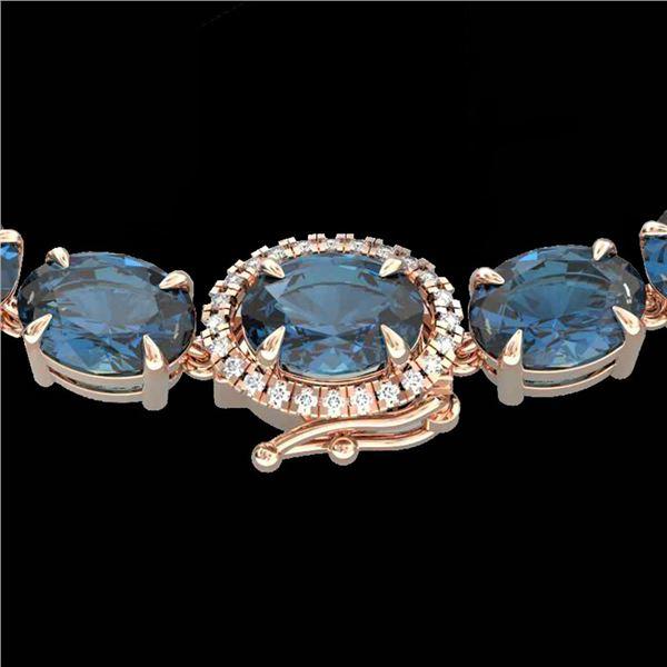 45.25 ctw London Blue Topaz & VS/SI Diamond Micro Necklace 14k Rose Gold - REF-263R6K