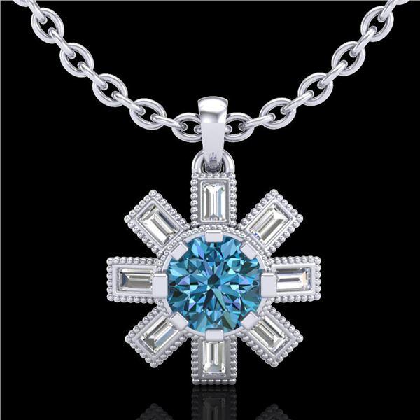 1.33 ctw Fancy Intense Blue Diamond Art Deco Necklace 18k White Gold - REF-161F8M