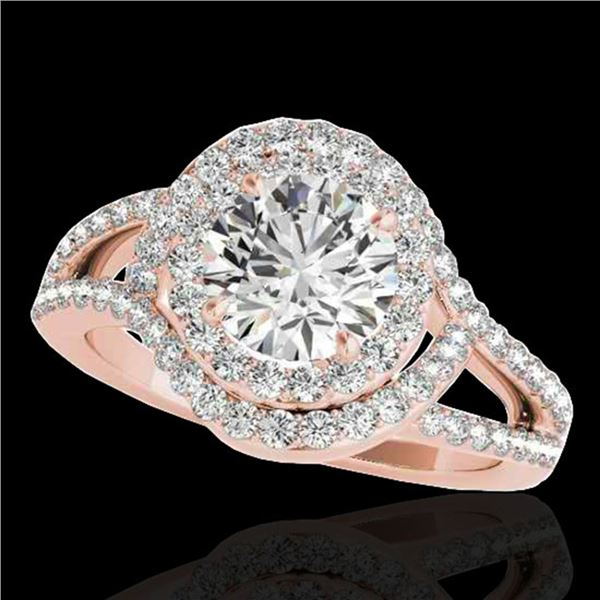 1.9 ctw Certified Diamond Solitaire Halo Ring 10k Rose Gold - REF-218Y2X