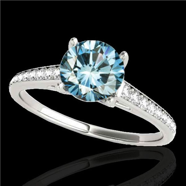 1.5 ctw SI Certified Fancy Blue Diamond Solitaire Ring 10k White Gold - REF-132N3F