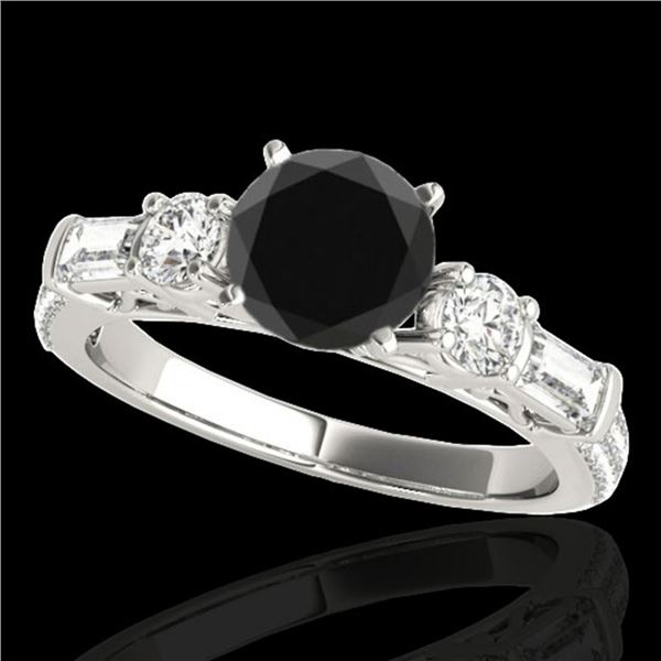 2 ctw Certified VS Black Diamond Pave Solitaire Ring 10k White Gold - REF-97F2M