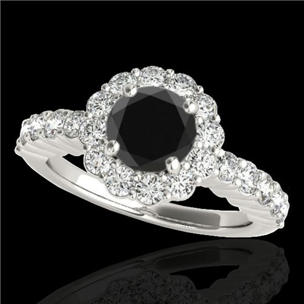 1.75 ctw Certified VS Black Diamond Solitaire Halo Ring 10k White Gold - REF-66F8M