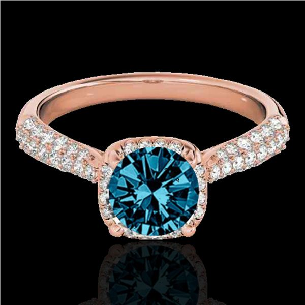 1.50 ctw SI Certified Fancy Blue Diamond Solitaire Halo Ring 10k Rose Gold - REF-133M2G